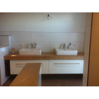 Waschtisch mit Aufsatzbecken, Waschtischplatte mit HPL Eiche astig belegt, 2 Frontauszüge